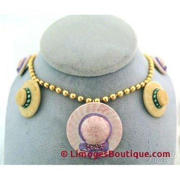 Hat Necklace: Pink And Yellow Limoges Box