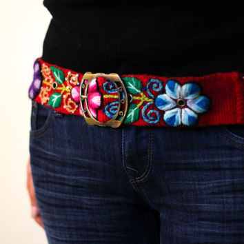 Wool embroidered belts, handmade belts, ethnic belts, Peruvian belts, tribal belts, floral red belt