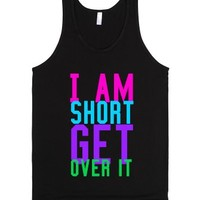 I am short-Unisex Black Tank