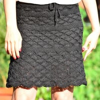 Black crochet skirt, crochet lace skirt, mini black skirt, summer boho crochet, sexy black skirt, flared elegant skirt