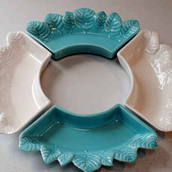 Vintage 1950s Miramar california pottery lazy susan -4 white and turquoise snack/dip bowls