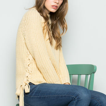 High Neck Side Tie Knit Sweater in Beige