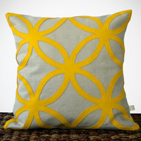 Mod Honey Gold DECORATIVE PILLOW - Geometric Felt Design by JillianReneDecor Bright Fall Home Decor Mustard Yellow