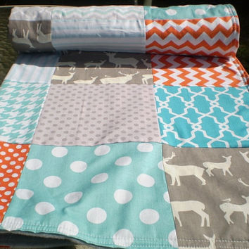 Baby quilt,Patchwork Crib quilt,baby boy bedding,baby girl quilt,woodland,rustic,Birch organic,teal,grey,orange,deer,elk,chevron,blanket