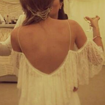 Dreamy off the shoulder wedding dress with by Graceloveslace