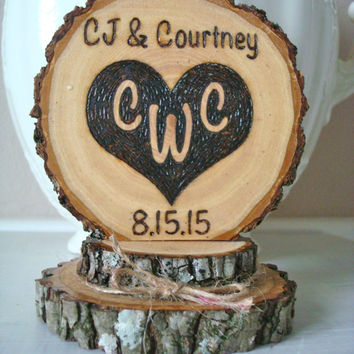 Rustic Wedding Cake Topper Personalized Heart Wood Burned Country