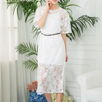 Lace Floral Dress with Pearl Belt