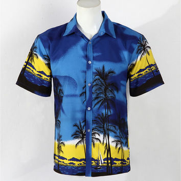 Hot Men Aloha Shirt Hawaiian Cruise Tropical Luau Beach Hawaiian Party Palm Deep sea blue L normal version