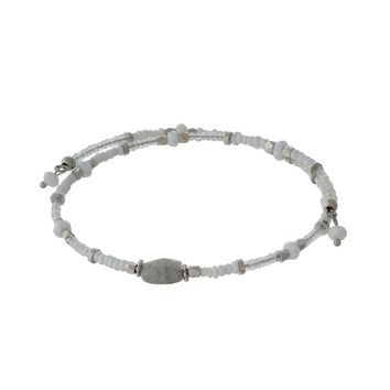 Dainty Silver Tone Wire Bracelet with White and Gray Beads