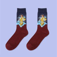 Stained Glass Art Jesus Sock