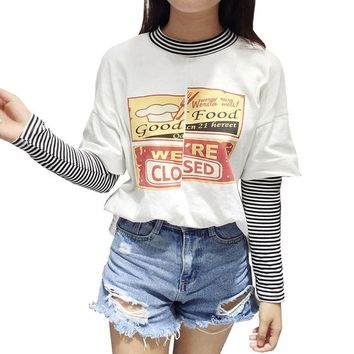 Women 's Patchwork T Shirt Kawaii Tee Tops Preppy Style Harajuku Letter Striped Cartoon Tshirt Fashion t-shirt HT183