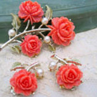 Coral Brooch Earrings, Celluloid Carved Roses, 60's Celluloid Set - Mid Century Jewelry