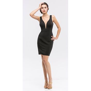 Black Bodycon Short Cocktail Dress V-Neckline with Sheer Inset