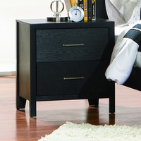 Woodman 2 Drawer Nightstand BLACK