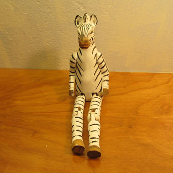Larger Wooden Zebra Shelf Sitter Hand Carved