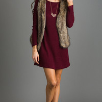 Ally Brown Faux Fur Vest