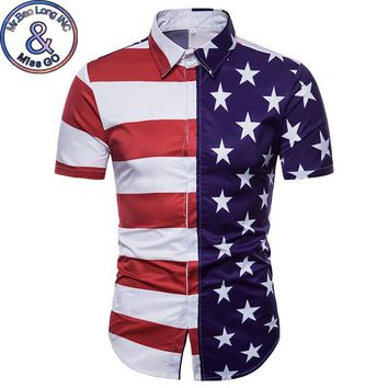 Mens Hipster Summer Slim Fit Short Sleeve Dress Shirt 2018 Fashion Striped US Flag Print Chemise Homme Casual Brand Shirt Men
