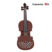 2GB Lovely Violin Shape Flash Drive (Coffee)