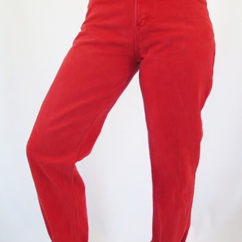 Vintage 90s Womens High Waisted Red Jordache Denim Skinny Jeans / Size (26/27)