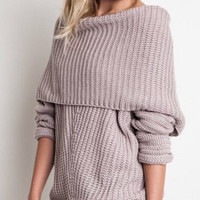 Off Shoulder Sweater - Light Mauve