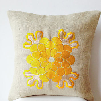 Ivory Burlap pillow cover with Japanese Obi inspired Yellow Chrysanthemum flower embroidery -Throw pillows - Embroidered pillow- 16X16 -Gift