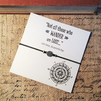 Lord of the Rings Inspired Compass Bracelet | Tolkien Quote | Not All Those Who Wander Are Lost