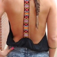 Aztec Tank- Black Open Back Top