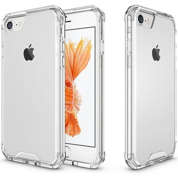 For iPhone 7 Plus iPhone 8 Plus Case 5.5 Crystal Hybrid Bumper Clear Hard Acrylic Back Cover for iPhone 7Plus 8Plus Phone Cases