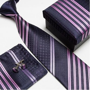 striped neck tie set neckties cufflinks hanky high quality ties cuff links Pocket square snot-rag Handkerchiefs