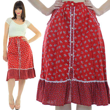 Red floral skirt Boho mini skirt Vintage 1970s Prairie lace Full Cotton Red skirt Tiered button up Festival Medium