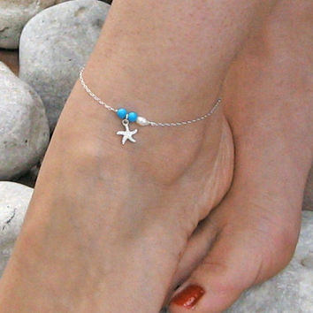 Starfish Anklet, Turquoise Ankle Bracelet, Sterling Silver, White Freshwater Pearl, Beach Foot Jewelry , Bridesmaid Jewelry, Gift Under 25