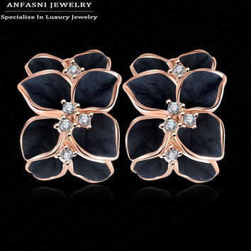 ANFASNI Milan Fashion Design Flower Earrings Rose Gold Plated Small Genuine SWA Stellux Crystal Enamel Earring ER0099-A