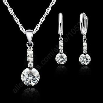 JEXXI 2017 Shining Cubic Zirconia 925 Sterling Silver Jewelry Sets Pendant Necklace Earring+ Singapore Chain Woman Dress Gift