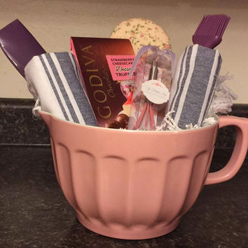 Baking Gift Basket- Gift Set- Batter Mixing Bowl- Le Creuset- Pink- Purple-Mothers Day Gift- Valentines- Birthday Gift- Anniversary- Wedding