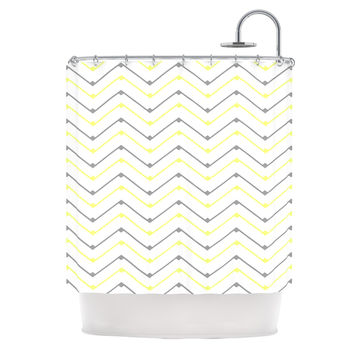 "CarolLynn Tice ""Witty"" Yellow Gray Shower Curtain"