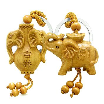 Amulet Triple Lucky Elephants and Spirit Jar Good Luck Protection Powers Feng Shui Keychain Set Blessings