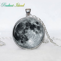 Full Moon Necklace Moon Pendant  Galaxy Space  Grey Moon  Jewelry Necklace for men  Art Gifts for Her(P11H01V02)