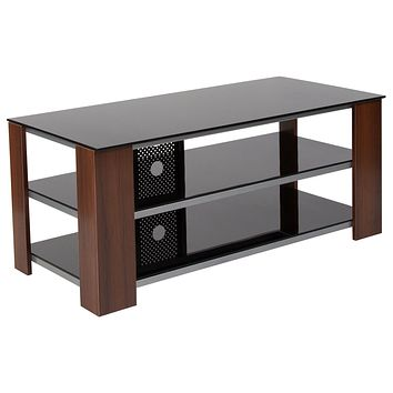 Montgomery TV Stand with Glass Shelves, Steel Accents and Wood Grain Finish Frame