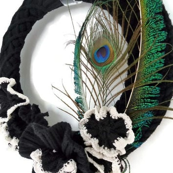 Black Knitted Wreath with Peacock Feathers Upcycled Sweater Wreath