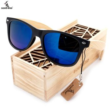 BOBO BIRD Vintage Black Square Sunglasses With Bamboo Legs Mirrored Polarized With Wood Box