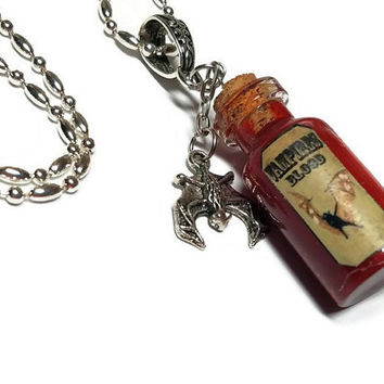 Vampires Blood Vial Charm Necklace, Vampire Blood Bottle Necklace