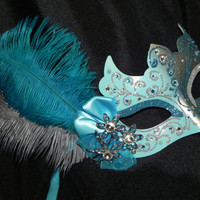 Masquerade Mask in Silver with Turquoise and Aqua Accents