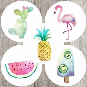 Tropical Island Party Sticker Labels - Birthday Baby Shower Favors and Envelope Seals - Set of 50