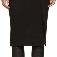 Black Wool Jersey Skirt