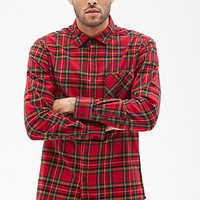 Plaid Flannel Collared Shirt Red/Green