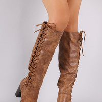 Side Lace-Up Burnish Knee-High Chunky Heel Boots
