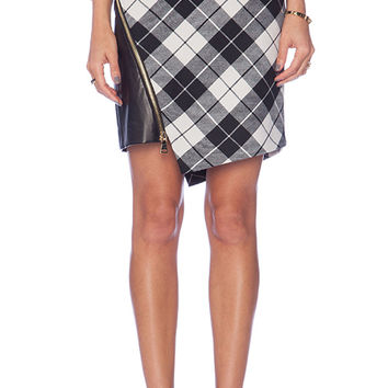 MILLY Tartan Slit Mini Skirt in Black