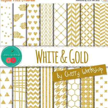 SALE White and Gold Digital Paper / White and Gold Wedding Digital Paper / Glitter Digital Paper / Instant Download