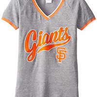 MLB San Francisco Giants Tri-Blend Baby Raglan SS V-Neck Jersey, Grey, Small