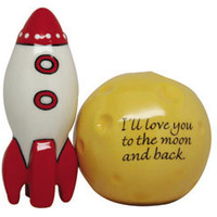 Retro Rocket Ship and Moon Shakers | Salt and Pepper Shakers | RetroPlanet.com